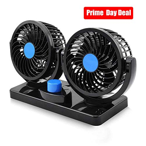 Electric Car Fan, Dual Head 2 Speed 12V Cooling Air Circulator - 360 Degree Rotatable Auto Fan for Sedan SUV RV Boat Auto Vehicles Golf Cart by Blu7ive