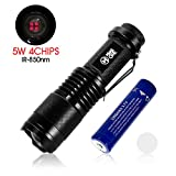 IR Infrared Night Vision Torch 5W 4 Chips 850nm Hunting Flashlight- Infrared Light is Invisible to Human Eyes -To be used with Night Vision Device With 18650 Battery