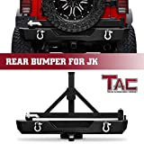 TAC Rear Bumper with Swing Tire Carrier & 2'' Hitch Receiver & 2X 4.75 Ton D-Rings Fit 2007-2018 Jeep Wrangler JK (Exclude 18 JL Models) Textured Black Standard Width Grille Guard Off Road Accessories