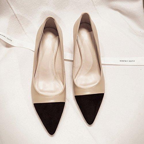 AJUNR Moda/elegante/Transpirable/Sandalias Solo los zapatos zapatos de mujer consejos fino y versátil có beige 6cm de alto-Heel Shoes 36 34