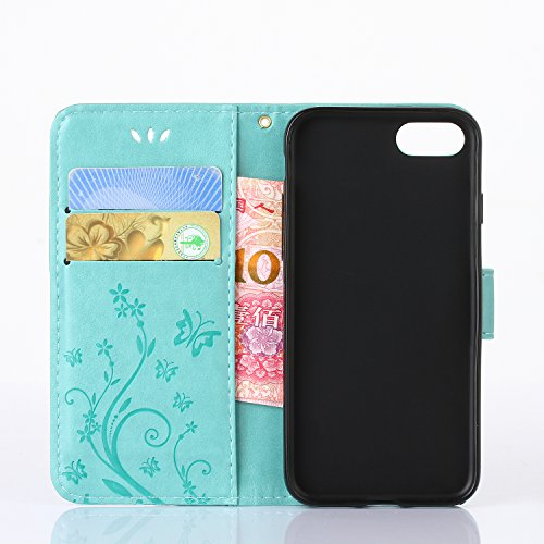 iPhone 7 Case, Urvoix Card Holder Stand Smooth Hand Feel PU Leather Wallet Case – Embossed Flower Butterfly Flip Cover For 4.7 Version Iphone7 (Not for 7PLUS) Green