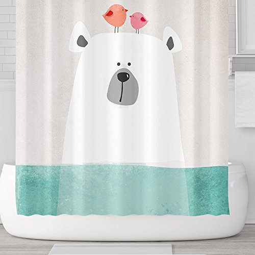 Cartoon Polar Bear in Water Shower Curtain Set with Hooks 71''x71'', Pink Birds Green Aqua Ocean, Waterproof Mildew Resistant Fabric Accessories Kids Children Bathroom Decor