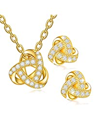 Dawanza - Gold Plated Crystal jewelry Set for Woman - Sculpted Triangle