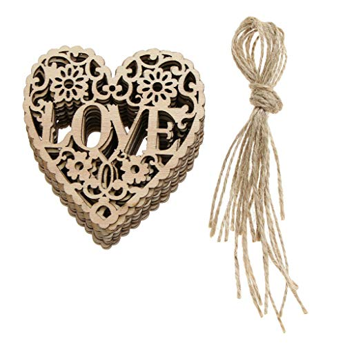 Pack of 10pcs Crafts Hanging Ornament Wooden Embellishments LOVE Heart