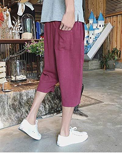Solide Léger Confortable Casual Couleur Pants Lâche 3 Basique Lannister 4 Avec Pour Fashion Beach Burgunderrot Linge Dentelle Hommes n8wZA4fqX