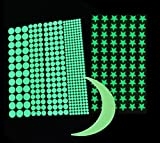 Amersumer 480Pcs Glow in the Dark Wall Decals Stickers,Adhesive Dots,Star and Moon,Ideal Kids Decor or Relaxing Ambience for Kids Boys Girl Gift