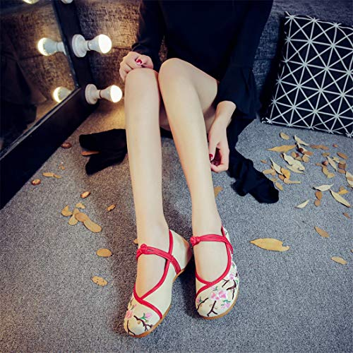 Wind Shoes Shoes Espadrilles Ballet Slope Embroidered Embroidered Shoes Beige Heel Flats Shoe National Women Uq4Xqv
