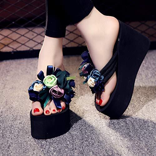 Donna Pantofole Moda Con Donna Ciabatte Sandali Estiva Blu Da Antiscivolo Spiaggia Party Zeppa Ciabattine Estivi dCC4r