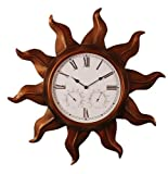 Copper finish metal indoor/outdoor clock w/ humidity and temperature subdials wall clock by Ashton Sutton