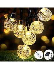 Catena Luminosa Solare, OMERIL 8m 50 LED Catena Luminosa Esterno con USB alimentata Aggiuntiva, IP65 Impermeabile e 8 Modalità Luci Stringa Solare per Natale, Feste, Cortili, Giardino, Matrimonio