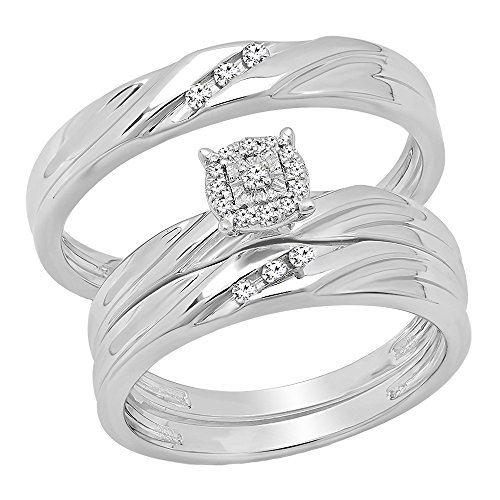 - Dazzlingrock Collection 0.13 Carat (ctw) Round White Diamond Men & Women's Engagement Ring Trio Bridal Set, Sterling Silver