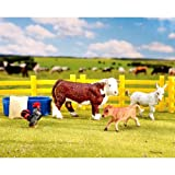 Breyer Stablemate Ranch Friends Includes a fencing, bull, calf, donkey, rooster and hay manger