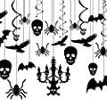 Dixis Spooky Halloween Hanging Decorations, Halloween Haunted Black Cardboard House Chandelier Decoration Office. Creepy Chandelier Swirl Ceiling, Frightening Sculls, Monster Spiders Set (20)