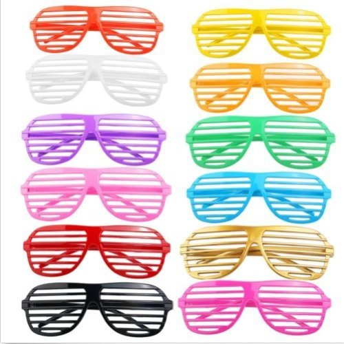 VIPASNAM-12 Pairs Plastic Shutter Shades Glasses Sunglasses Party Photo (Amber Rose Halloween Costumes)