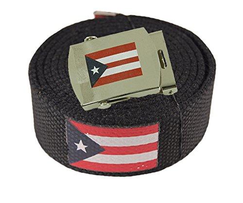 ACCmall Canvas Military Web Novelty, Flag, Soccer Team Belt & Buckle (Puerto Rico, 72 inch)