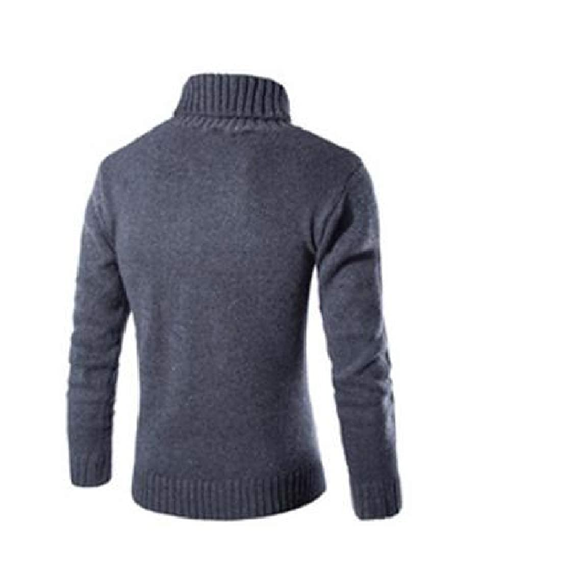 Mfasica Mens Casual Turtleneck Solid Pullover Fashional Sweater Top