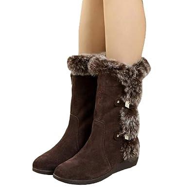 9447a50c6d46 Damen Warm Gefüttert Boots - Schneestiefel Winterstiefel Winter Sneaker  Wildleder Snow Boots Outdoor Stiefel Flach Wanderschuhe