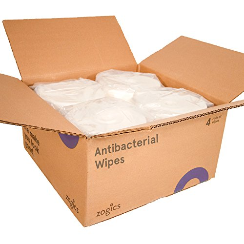 Zogics Antibacterial Wipes, EPA Registered Gym Cleaning Wipes (800 Wipes/Roll, 4 Rolls/Case) by Zogics