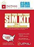 Red Pocket Mobile GSM SIM Card Starter Kit 3 in 1 (Nano, Micro, Standard Simple No Contract Plans starting at $10/mo, Prepaid SIM will work w/AT&T Wireless or GSM Unlocked Phone incld iPhone android