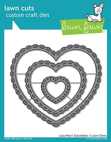 Lawn Fawn Lf1562 Lacy Heart Stackables Custom Craft Die Set