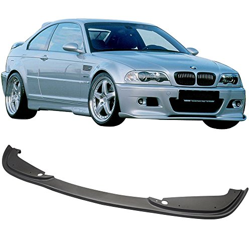 Front E46 Lip (Front Bumper Lip Fits 2001-2006 BMW E46 M3 | H Style Black PU Front Lip Finisher Under Chin Spoiler Add On Bodykit by IKON MOTORSPORTS | 2002 2003 2004 2005)