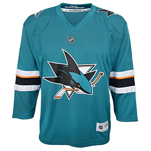(Outerstuff NHL San Jose Sharks Youth Boys Replica Home-Team Jersey, Small/Medium, Turquoise)