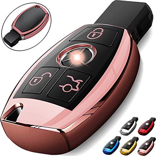 COMPONALL for Mercedes Benz Key Fob Cover, Key Fob Case for Mercedes Benz C E M S CLA CLS CLK GLC GLK G Class Premium Soft TPU Full Cover Protection Smart Remote Keyless Entry Key Fob Shell, Rose Gold