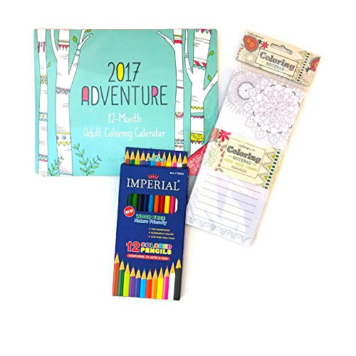 2017 Adventure 12 month Coloring Book Calender Bundle: Includes Coloring Calender, Wood Free Colored Pencils and Coloring Notepad