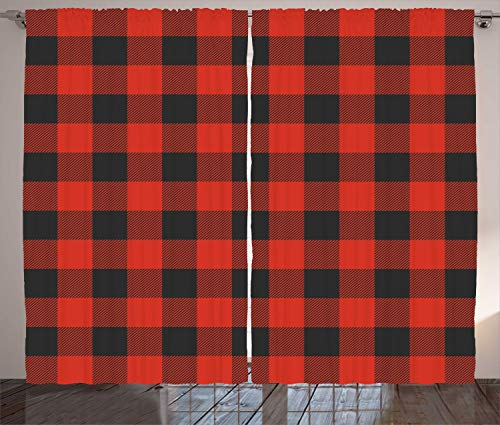 Curtain Plaid Bed (Ambesonne Plaid Curtains, Lumberjack Fashion Buffalo Style Checks Pattern Retro Style with Grid Composition, Living Room Bedroom Window Drapes 2 Panel Set, 108 W X 63 L Inches, Orange Black)