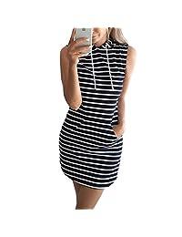 FANTIGO Women Summer Casual Bodycon Sleeveless with Pockets Hoodie Mini Dress