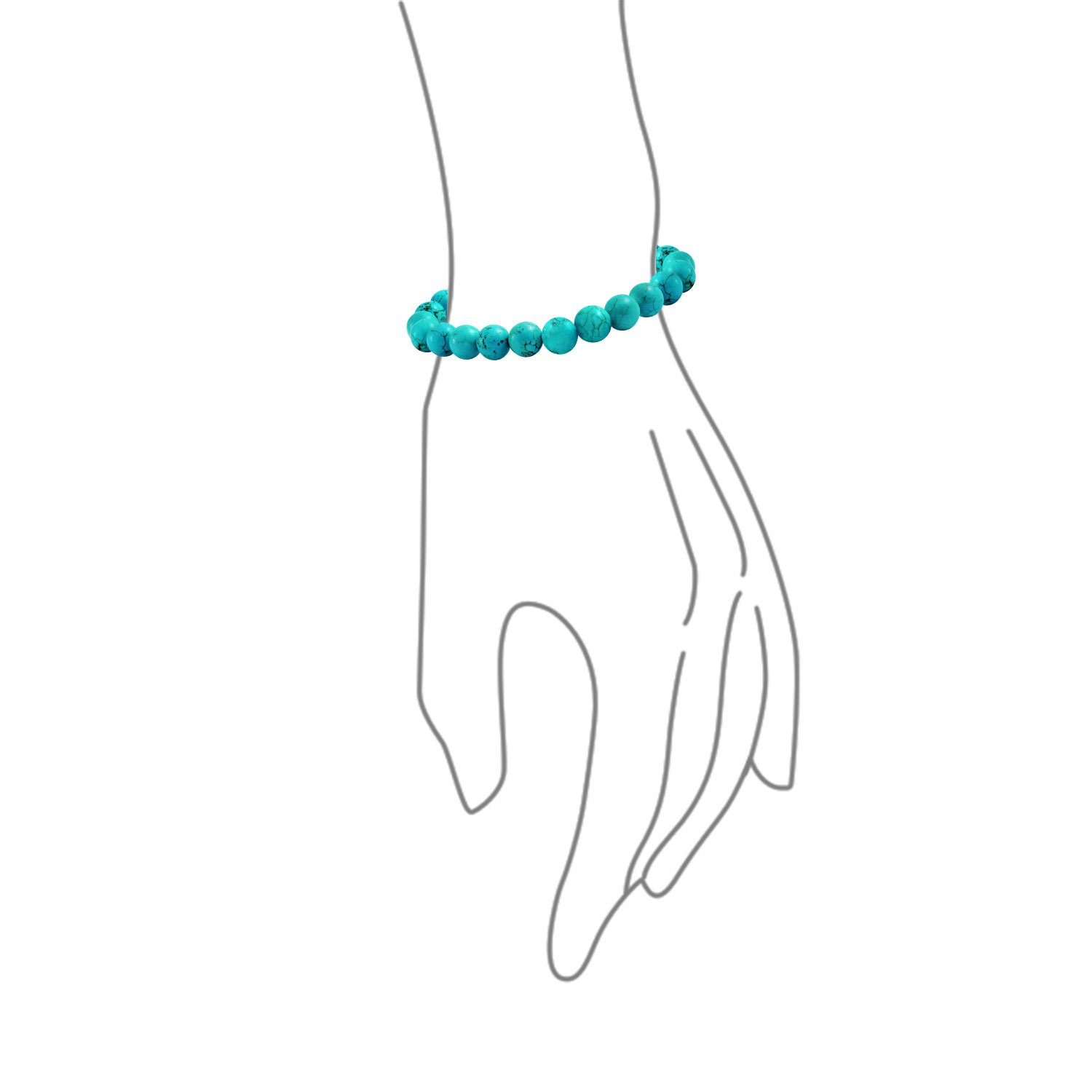 Stabilized Turquoise 8MM Ball Bead Stones Stackable Single Strand Stretch Bracelet for Women for Teen