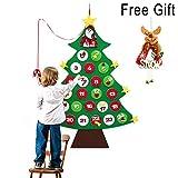 ZALALOVA Felt Christmas Tree, DIY Christmas Tree Advent Calendars with A Free Reindeer Hanging Ornament 24 Day Countdown for Xmas Gift Wall Door Christmas Decoration