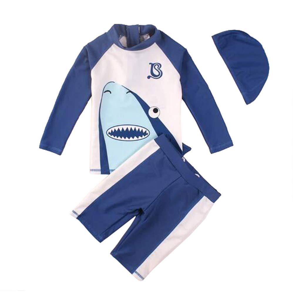 Baby Little Boys Two Pieces Shark Swimsuit Kids Rash Guards Bathing Suit Boys Swimwear with Hat UPF 50+