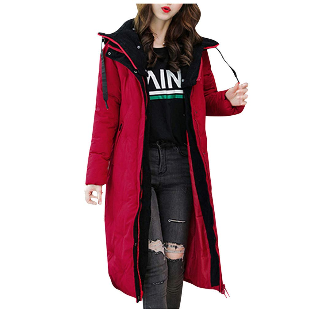 Spring Color  Womens Winter Long Sleeve Coat Hooded Thicken Zipper Button Warm Jacket Pocket Long Overcoat Outwear Red by 🍒 Spring Color 🍒