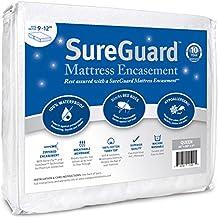 Queen (9-12 in. Deep) SureGuard Mattress Encasement - 100% Waterproof, Bed Bug Proof, Hypoallergenic - Premium Zippered Six-Sided Cover - 10 Year Warranty