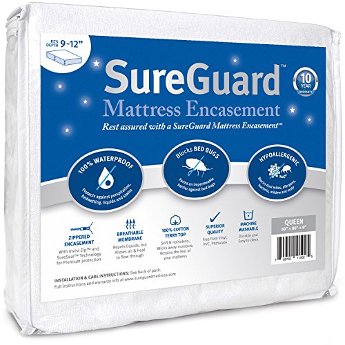 Queen (9-12 in. Deep) SureGuard Mattress Encasement - 100% Waterproof, Bed Bug Proof, Hypoallergenic - Premium Zippered Six-Sided Cover - 10 Year manufacturer's warranty Black Friday & Cyber Monday 2018