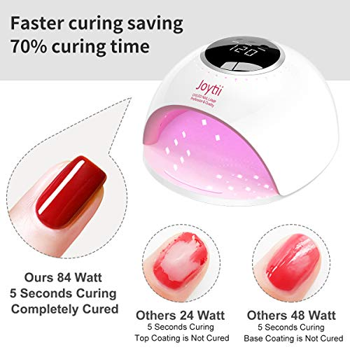 Joytii UV led nail lamp, 82W Nail dryer UV LED Light for Gel nail polish, professional salon curing lamp with 3 timer,smart sensor and LCD display