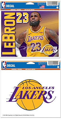 WinCraft Bundle 2 Items Los Angeles LA Lakers 2 Reusable Decals 5.75