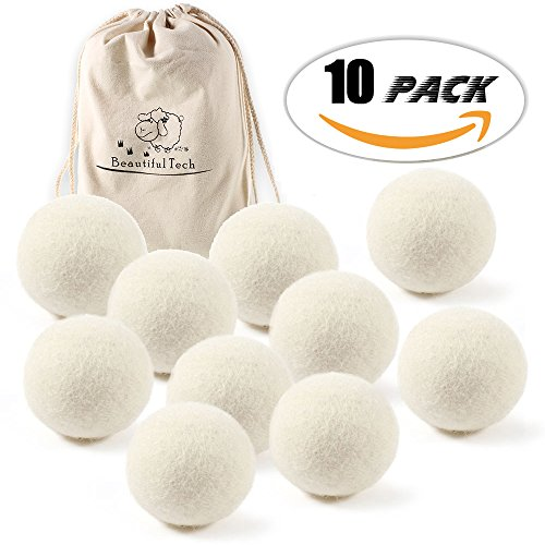Premium Australian Wool Dryer Balls  10 Pack   2 36 Inch  Reusable Organic Natural Fabric Softener And Static Reducer  Softens Reduces Wrinkles And Helps Dry Clothes In Laundry Quicker