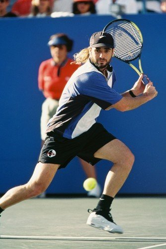 Andre Agassi Wearing Cap In Action Tennis Legend 24x36 Poster - Andre Agassi Memorabilia