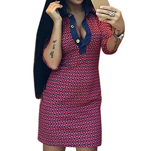 QIYUN.Z Las Mujeres Camisas Atractivas V Cuello Media Manga Corta Impresa Vestido Delgado De La Cadera Del Paquete Rojo