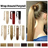 "Wrap Around On Ponytail Extension Long Straight Wavy Clip In On Ponytail One Piece Synthetic Heat Resistant Magic Paste Wrap Pony Tail Hairpiece Soft Silky (23""Straight,White)"