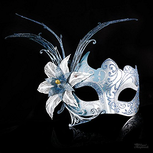 [Venetian Silver and Baby Blue Dream Butterfly Masquerade Carnival Costume Mask] (Carnival Mask Costume)