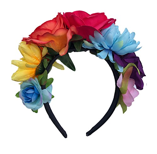DreamLily Frida Kahlo Mexican Flower Crown Headband Party Costume Dia de Los Muertos Day of The Dead Headpiece NC12 (Orange Fuchsia Rose) -