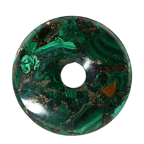 Beautiful Sea Sediment Jasper Donut Pendant Bead 50mm More Material Offer (Malachite & Pyrite) (Pendant Pyrite Bead)