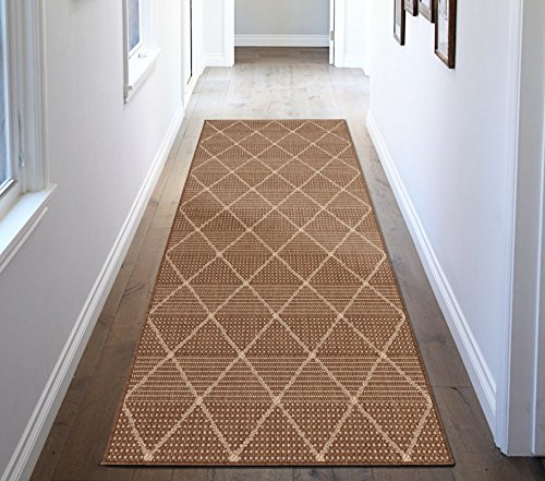 Ottomanson Jardin Collection Contemporary Trellis Design Indoor/Outdoor Jute Backing Synthetic Sisal Runner Rug, 2'7
