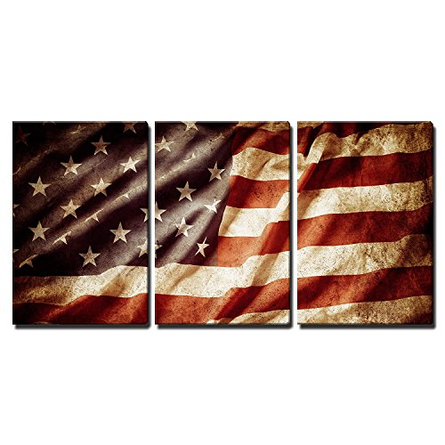 Closeup Grunge American Flag Wall Decor x3 Panels