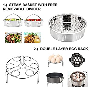 Pressure Cooker Accessories Set 6 Pieces Value Pack Fits 5, 6, 8 QT. Steamer Basket, Springform Pan, Egg Steamer Rack, Steaming Stand, Kitchen Tongs and 1 Pair Silicone Cooking Pot