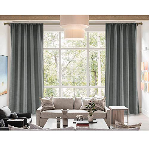 Curtain Liz (cololeaf Rod Pocket Curtain Liz Faux Linen Curtains Drapery Panel for Traverse Rod for Living Room Bedroom,Carbon Grey 100W x 84L Inch (1 Panel))