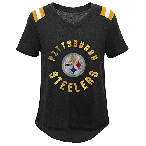 - Outerstuff NFL NFL Pittsburgh Steelers Youth Girls Retro Block Vintage Short Sleeve Football Tee Black, Youth X-Large(16)